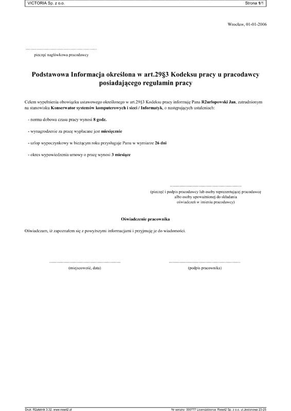 R2płatnik Przykładowe Wydruki Reset2 Producent Oprogramowania